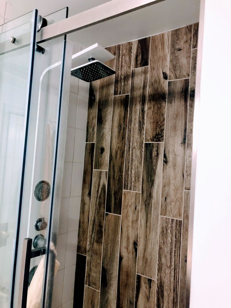 shower with custom tile