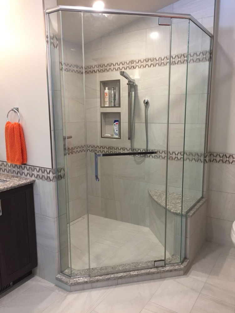 Shower enclosure in new bathroom