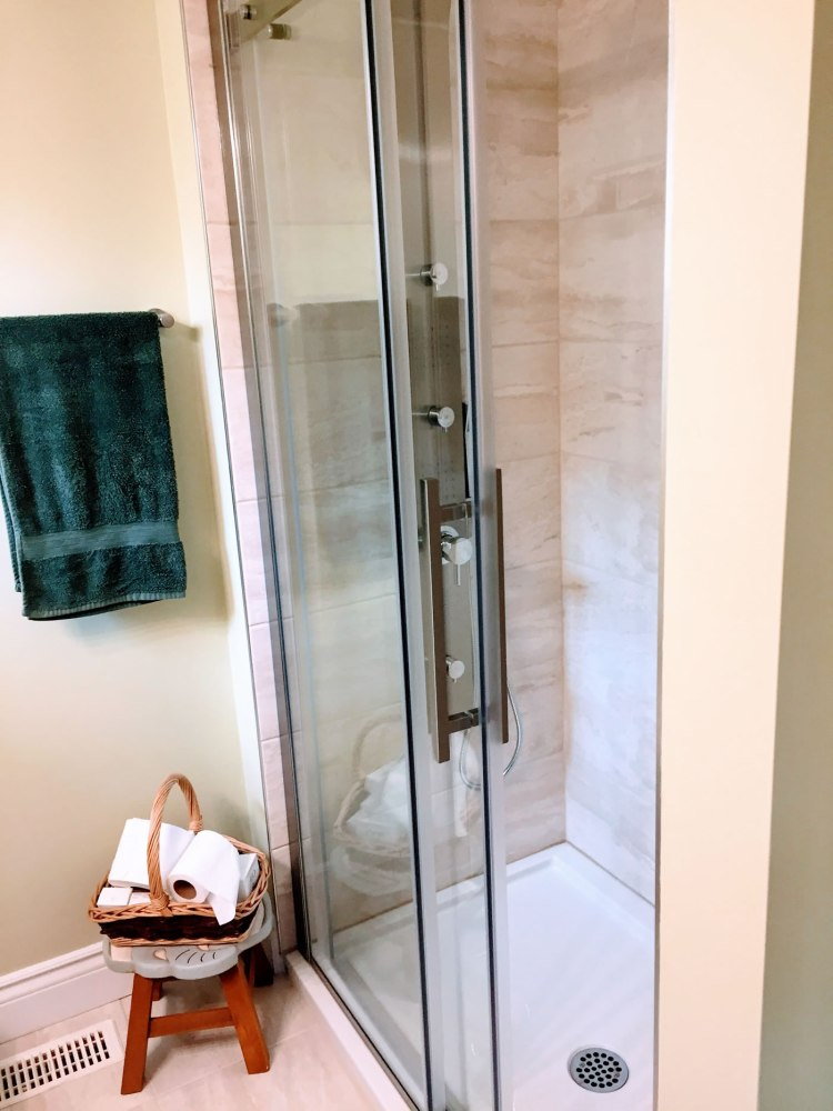 Glass and tiled shower