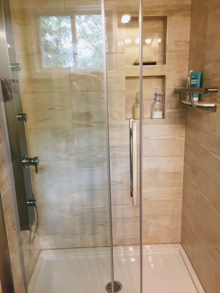 Tiled shower walls