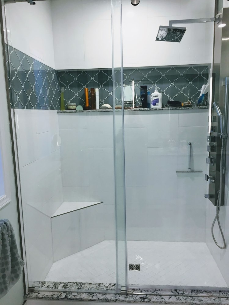 Double width shower with tiled walls