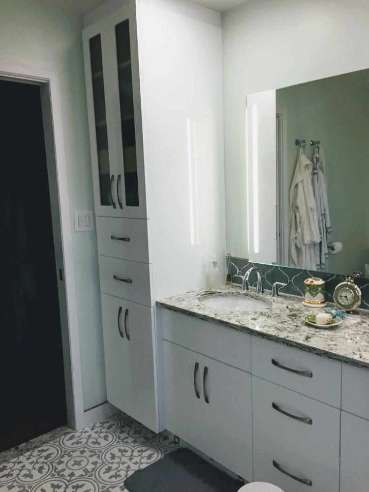 Custom bathroom cabinetry in white