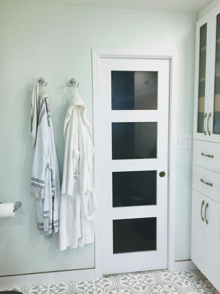 Door with dark glass panels