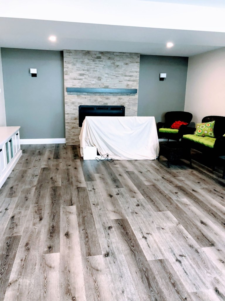 New floors in renovated basement