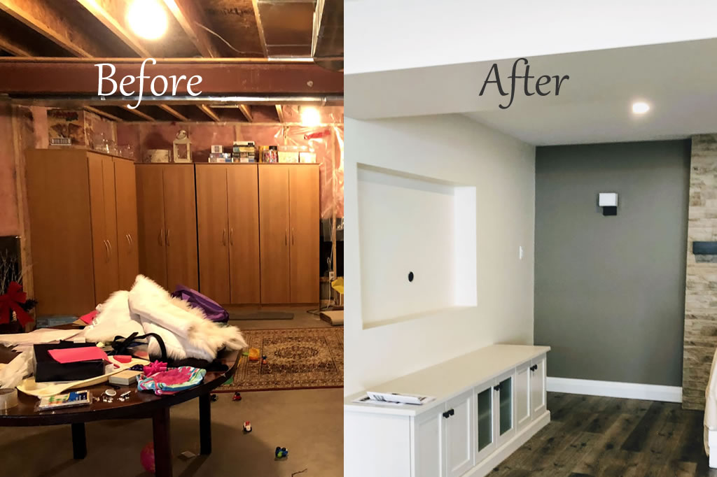 Before and after pictures for a basement renovation